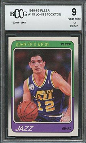 1988-89 fleer #115 JOHN STOCKTON utah jazz rookie card BGS BCCG 9 Graded Card