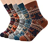 Zando Mens Casual Socks Soft Wool Fuzzy Thick Socks Warm Crew Sock Gifts For Women Cabin Sock Mid Calf Socks 5 Pairs Deer 6-11