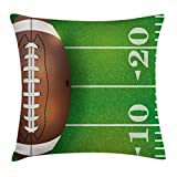 Lunarable Boy's Room Throw Pillow Cushion Cover, American Football Field and Ball Realistic Vivid Illustration College, Decorative Square Accent Pillow Case, 18 X 18 Inches, Green Brown White
