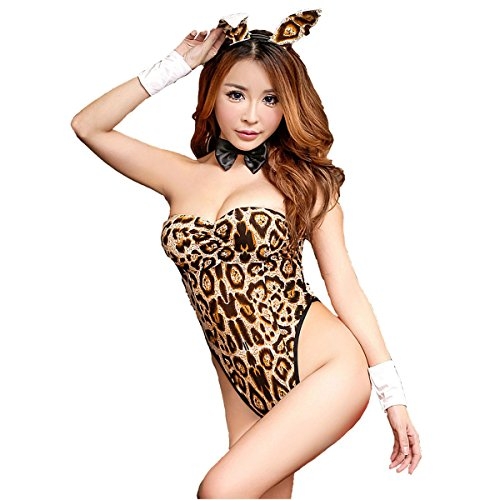 Bluefun Sexy Bunny Girl Lingerie Role Play Costume Rabbit Girl Teddies 8829, Leopard (Sexy Bunny Lingerie)