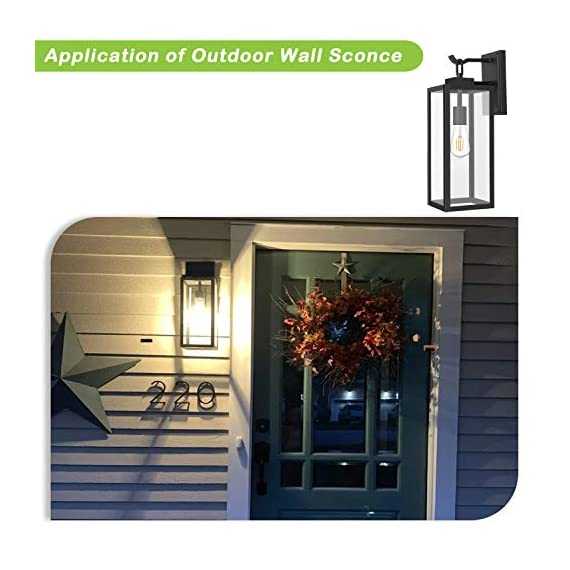 Hykolity Outdoor Wall Lantern with ST19 LED Bulb,2700K,60W Equivalent, Matte Black Wall Light Fixtures, Architectural Wall Sconce with Clear Glass Shade for Entryway, Porch, Doorway, ETL Listed,2 Pack - ✔ WONDERFUL AMBIENT LIGHTING - This wall sconce lighting is decorative wall-mounted fixture that provides a beautiful light for entryway, doorway, foyer, corridor, balcony, patio and porch. ✔ OUTDOOR WEATHER RESISTANT - Our wall sconces with heavy-duty rugged metal construction and clear glass panels, ideal for any outdoor environment. ✔ ONLY 3 STEP INSTALLATION - Attach the cross bar to the junction box, connect the wires and then fasten this wall light to the cross bar. - patio, outdoor-lights, outdoor-decor - 51I9CuSujZL. SS570  -