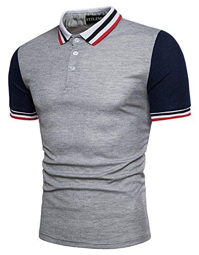 Leisure メンズ 夏 開襟シャツ 半袖 シンプル ポロシャツ カジュアル スポーツ ゴルフ 快適 吸汗速乾