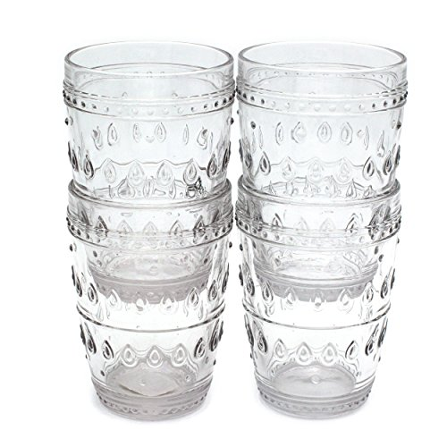 Euro Ceramica Fez Glassware Collection Highball Glasses, 14oz, Set of 4, Clear