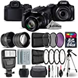 Canon PowerShot SX60 HS Digital Camera (Black) + 0.43X Wide Angle Lens + 2.2x Telephoto Lens + UV-CPL-FLD Filters + Backup Battery + Flash + 64GB SDHC High-Speed - International Version