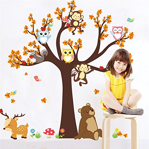 Ayutthaya Shop Jungle Branch Leaf Cartoon Animal Owl Monkey Bear Deer Wall Sticker for Baby Room Baby Boy Bedroom Decorating - Hours Monroe Outlet