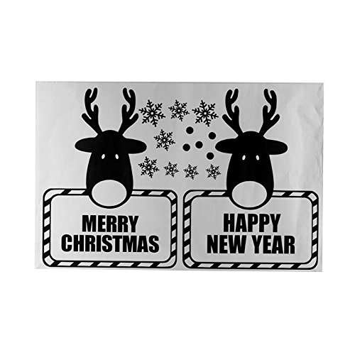 - Gold Happy Christmas Window Sticker PVC Deer Xmas Home Wall Back Ground Sticking Stickers s Rooms Decor