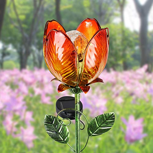 """(Exhart Solar Glass Flower Stakes - Colorful Flower Stakes with Solar Powered Garden Lights, Outdoor Orange Flower Décor with Garden Accent Light for The Driveway, Yard or Lawn 6""""L x 5""""W x 36"""" H)"""