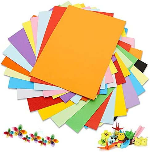 Farbkarton A4 Farbpapier (100 Blatt) 230 g/m², 20 verschiedene Farben, handgemachtes Origami-Papier, Basteln und Dekorieren, Skizzen und Schneidpapier/farbiges Druckerpapier (297 x 210 mm)