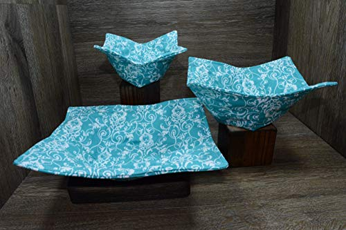 (Microwave Bowl Cozies // Set of 3 // 1 Small Bowl Cozy // 1 Medium Bowl Cozy // 1 Dinner Plate Cozy // Aqua)