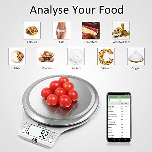 Senssun Nourish Digital Kitchen Food Scale with Vegetable Peeler - Smart Nutrition Scale with App, Tracking Calories Intake, Bluetooth(Silver) 3