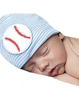 Big Baseball Chenille Patch Stipred Newborn Hospital Hat