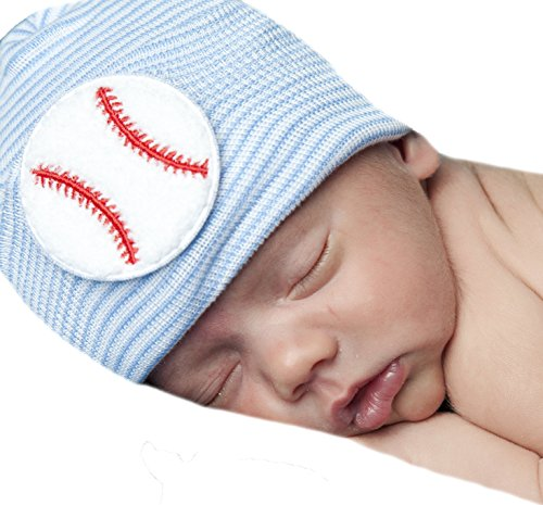 Melondipity Baby Hats Big Baseball Chenille Patch Stipred Newborn Hospital Hat ()
