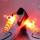 Welsun Orange LED Light Up Shoelaces 80cm Glow Shoelaces LED Sport Shoe Laces Glow Stick Flashing Neon Luminous Laces 1 Pair
