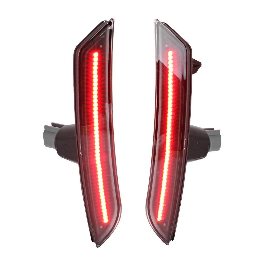 Black Housing Red Lights Front Side Marker LED Lamps by IKON MOTORSPORTS Rear Side Marker Lights Fits 2016-2018 Chevy Camaro