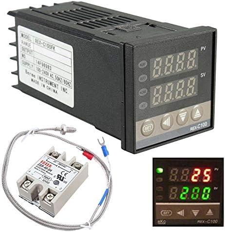 0 ℃ ~ 1300 ℃ Alarm PID Temperaturregler Kits Digital Intelligente Thermostat Relais Ausgang mit K-Typ Thermoelement Temperaturf/ühler Digital Temperaturregler REX-C100