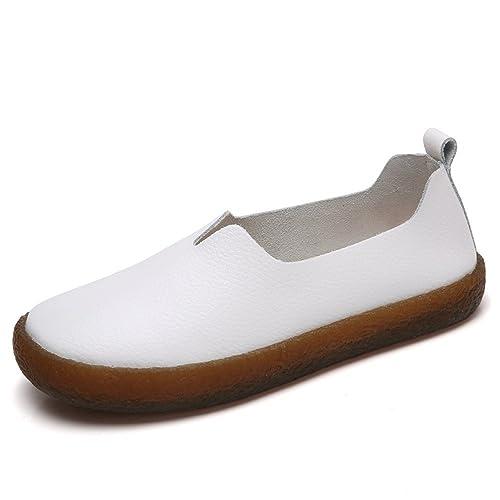 Aleader Loafers - Mocasines para mujer, color blanco, talla 38: Amazon.es: Zapatos y complementos