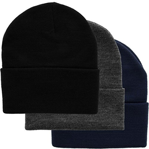 DG Hill Set of 3 Warm Winter Hats for Men, Navy Blue, Slate Gray & Black Beanie Hats, Pack of Soft Acrylic Knitted Watch Caps, Long Cuff Beanie Hat, Cold Weather Toboggans