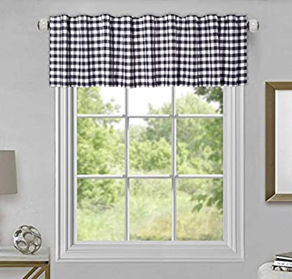 Gingham Check Plaid Pattern Valance Curtain 72 x 16 Set of 2 Color Black White Extra Wide and Short Window Treatment for Kitchen Living Dining Room Bathroom Kids Girl Baby Nursery Bedroom