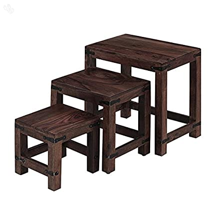 Ringabell Geo Solid Wood Nesting Tables (Mahogany Finish, Brown)