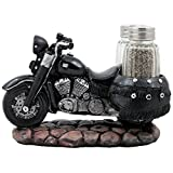 Classic Motorcycle Glass Salt and Pepper Shaker Set with Decorative Retro Road Hog Display Holder As Biker Bar and Kitchen Table Decorations for Vintage Chopper & Bike Riders or Gifts for Bikers
