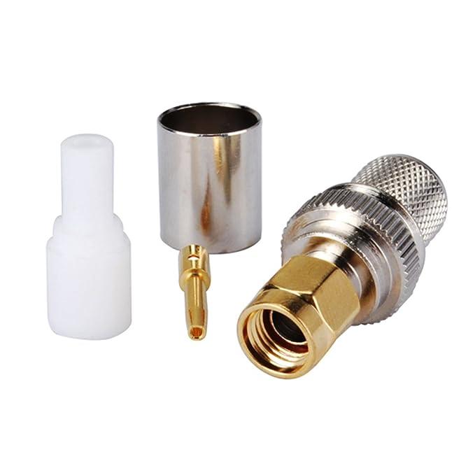Aleación de cobre de PC-Case 2 piezas Cable Coaxial RF Cable eléctrico Terminal Conector RP-SMA enchufe recto Crimp para LMR400 RG8 RG213 RG165: Amazon.es: ...