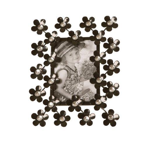 Wilco Imports Black Metal Flowers with Rhinestone Centers 6.5-inch x 1-inch x 8-inch, Photo Size (5 x5 - Frames Wilco