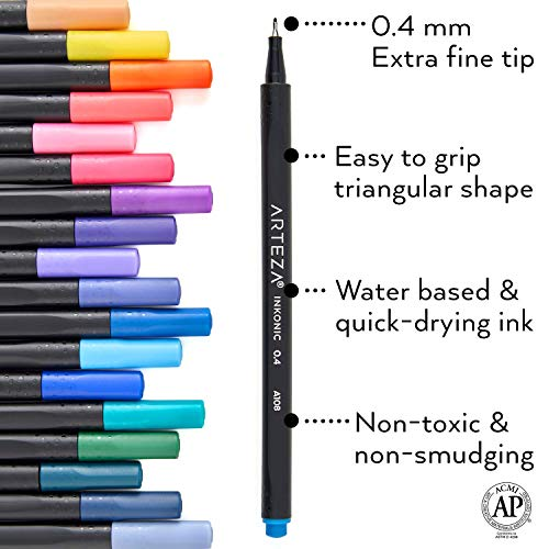 Arteza Fine Point Pens and Colored Pencils Bundle for Artists & Beginners