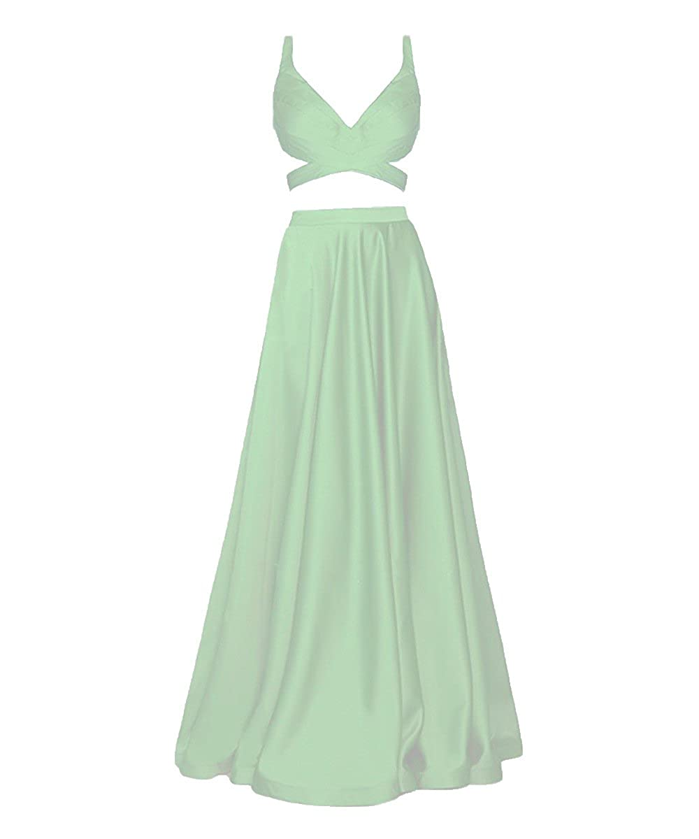 7ba4d10036 Beautiful and comfortable long 2 piece a-line satin prom dresses v-neck evening  party gown for juniors. With sexy navel exposed