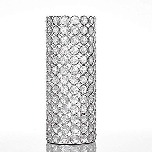 VINCIGANT Hollow Crystal Cylinder Flower Vase for Artificial Bouquet,Wedding Home Dining Room Table Decorative Centerpieceswith Warm White String Light