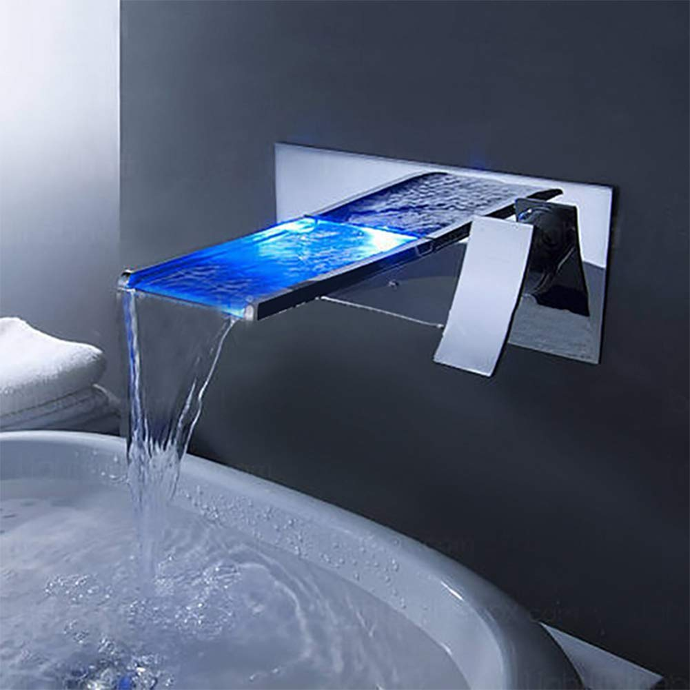Chrome ZMHome LED Waterfall Faucet Wall Mounted Stainless Steel Hot And Cold Washbasin Mixer,Chrome