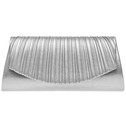 Bag Evening CASPAR Ladies Design Clutch Elegant Silver with Stylish TA398 Glitter Pleated CU1qUHw