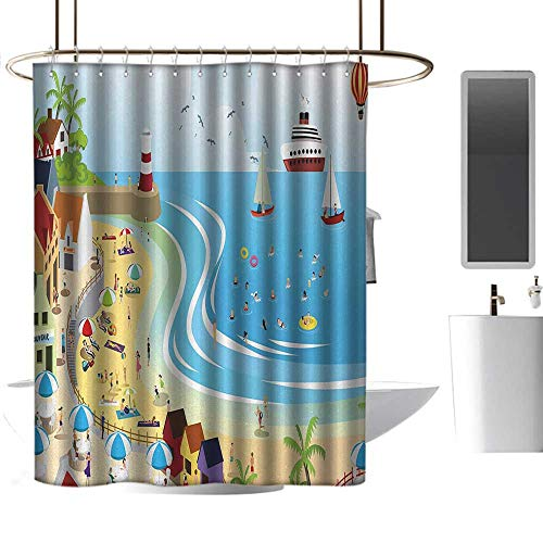 coolteey Shower Curtains x Long Beach,Tropical Summer Holiday Destinations Cartoon Style Town Illustration Ships Balloon,Multicolor,W48 x L84,Shower Curtain for Girls