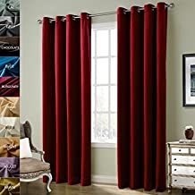 FirstHomer HOME Solid Matt Heavy Velvet Curtain Drape Panel Blackout Super Soft Nickle Grommet Top Burgundy 50Wx63L Inch (one Panels)Collection Theater| Bedroom| Living Room