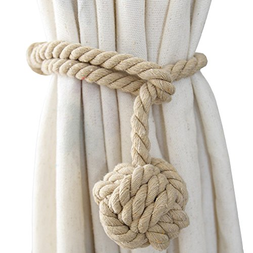 Chictie Natural Cotton Handmade Ball Knot Curtain Rope Cords Tiebacks Holdbacks Vintage American Rural Style Drapery Tiebacks Tie Band,Set of 2 (Dark …