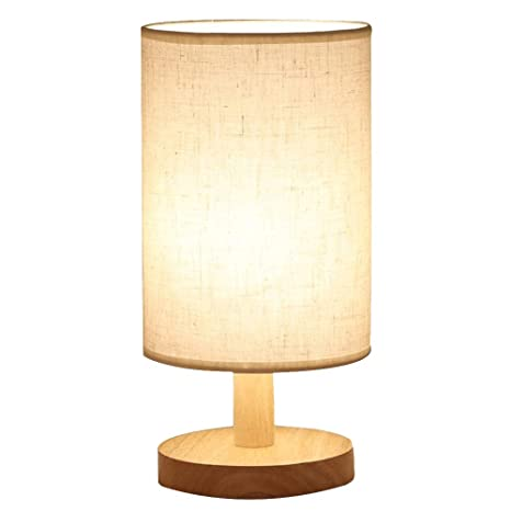 Lámpara de mesa del dormitorio, lámpara de noche de madera ...