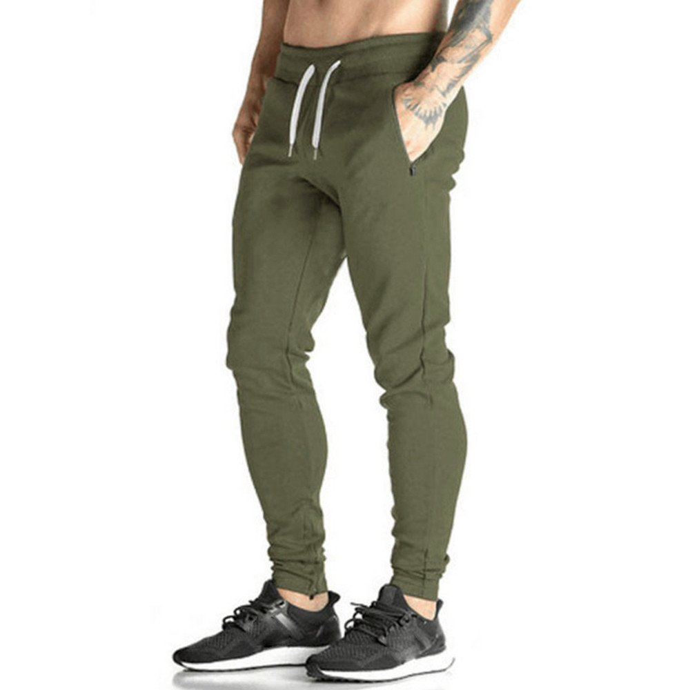 Clearance Sale! Charberry Mens Solid Color Brushed Elastic Band Casual Pants Slacks Casual Jogger Dance Sportwear Baggy (US-M/CN-L, Green)