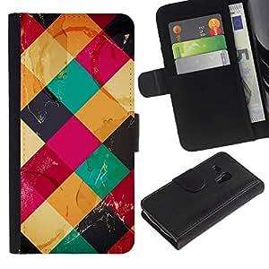 Samsung Galaxy S3 MINI / i8190 (Not For Galaxy S3) Modelo colorido cuero carpeta tirón caso cubierta piel Holster Funda protección - Modern Art Coffee Table Colorful Marks