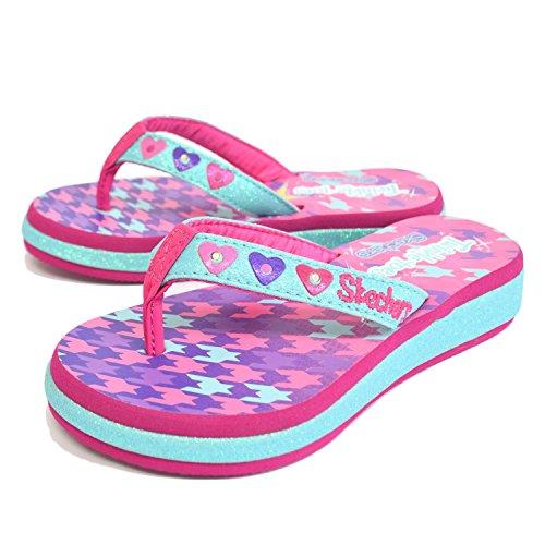 Skechers Kids Girl's Sunshines 10602L Lights  Aqua/Hot Pink
