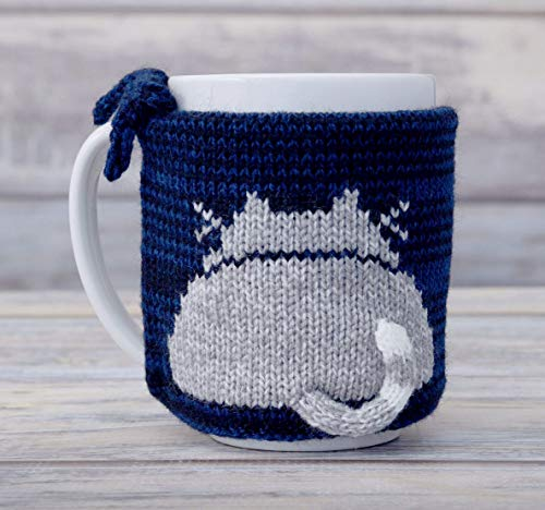 Pet Lover Gift Knit Navy Coffee Mug Cosy Cat Butt Gray Kitty Teacup Sleeve Tea Cup Sweater Cozy Warmer