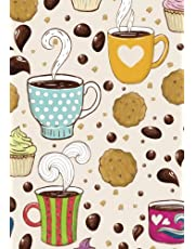 Coffee and Cookies Notebook: (7 x 10)(Lined) Blank Composition Notebook Organizer Planner Sketchbook Gratitude Diary Whimsical Pattern Splashes Pretty Cup Lover Chocolate Chip