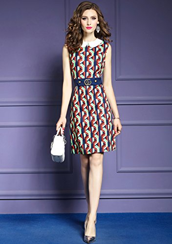 Dresses Collar Casual Dress Women`s Sleeveless Doll cotyledon Printed UnZfxqEv