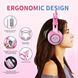SOMIC G951s Pink Stereo Gaming Headset with Mic for PS4, Xbox One, PC, Mobile Phone, 3.5MM Sound Detachable Cat Ear Headphones Lightweight Self-Adjusting Over Ear Headphones for Women