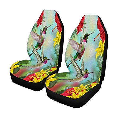 INTERESTPRINT Birds Hummingbirds Red Flowering Hibiscus Lilies Front Seat Covers 2 pc, Entire Seat Protection, Car Front Seat Cushion for Pets Running Gym