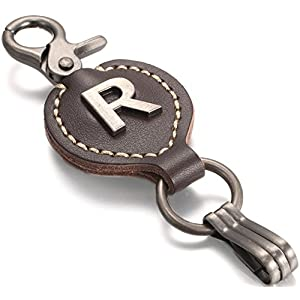 Brown Leather Alphabet Keychain, Single Letter with Easy Clasp Key - by Marino Ave - R - onesize