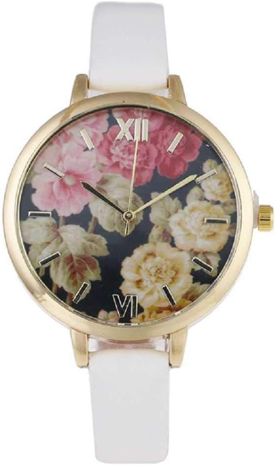 WSSVAN Escala Romana de Moda Correa de Cuero Fino Patrón de Flores Reloj de Cuarzo analógico de la Sra Reloj Impreso para Mujer