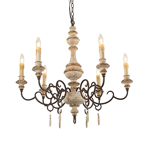 LNC 6-Light Pendant Lighting French Country Chandeliers Wood Chandelier