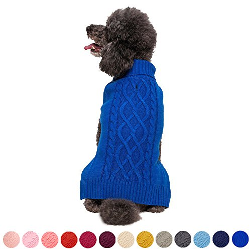 Blueberry Pet Classic Cable Knit Royal Blue Dog Sweater for Puppy, Back Length 8