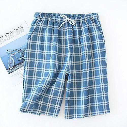 パジャマ CHJMJP 男性のための短い睡眠ボトムス男性パジャマパンツソフト綿100%ホームショーツ男性カジュアルパジャマパンツ (Color : E ブルー, Size : XL)