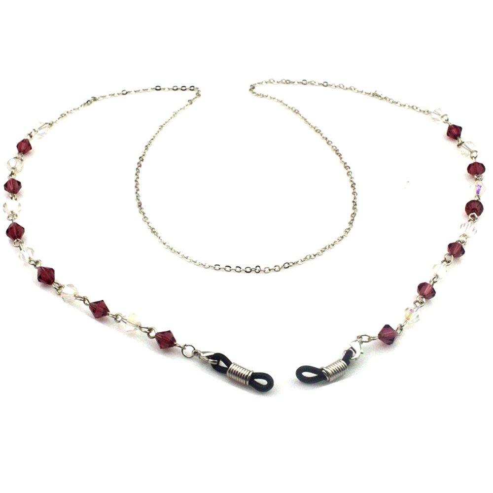 Red Beaded Mental Eyeglass Chain Sunglass Holder Strap Cord Eyewear Retainer Lanyard