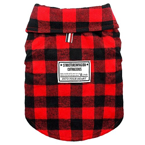 Beirui Windproof British Plaid Dog Vest Winter Coat - Dog Apparel Cold Weather Dogs Jacket for Puppy Medium dogs - Red - Back for 11
